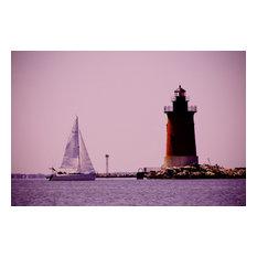 """Sailing in the Bay"" Landscape Photo, Coastal Unframed Wall Art Print, 16""x20"""