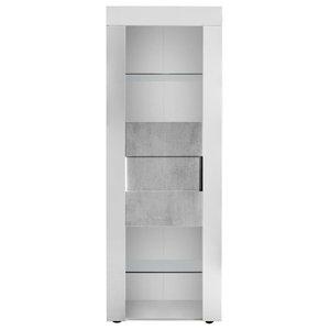 Easy II Narrow Display Cabinet, High Gloss, Stone Imitation Fronts