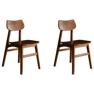 Milo White Cedar Dining Chairs, Walnut Finish, Set of 2