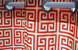 Shower Curtain Towers Lipstick Red And Ivory Greek Key By Elisabeth Michael