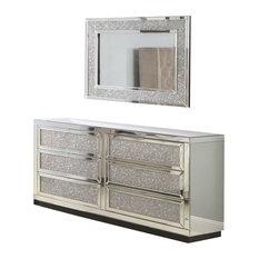 6 Drawer Silver Crystal Mirrored Dresser & Mirror