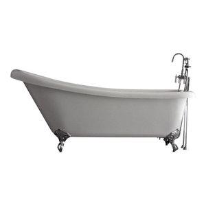 "Hotel Collection Single Slipper Clawfoot Bathtub Set, Chrome, 57"""