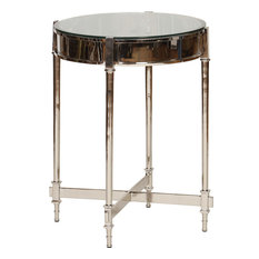 Nickel Side Table With Beveled Glass Top