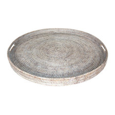 """White Rattan Tray With  Handle Round 26"""""""