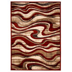 """ECARPETGALLERY - ECARPETGALLERY Abstract Rug 5'3"""" x 7'3"""" Red, Yasmine - Decorate your living space with the chic, modern designs of this area rug collection. Featuring an abstract swirl motif, the Yasmine area rugs collection is ideal for updating any modern space. With mid-century modern and contemporary design influences, these rugs all feature eye-catching designs that are sure to wow your guests. Designed with an upscale blend of fashion and function, these area rugs will elevate your home's décor while bringing a warm and welcoming feel to every room. Made of soft polypropylene, these durable and stylish area rugs make for a fashionable and long-lasting addition to your home. Place this area rug in your bedroom, living room, dining room, guest room, or home office. These easy to maintain area rugs are stain and fade resistant, making them perfect for indoor use and use in high-traffic areas."""