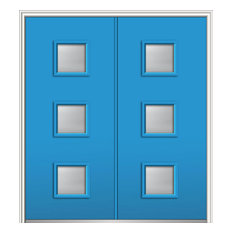 "Clear Low-E 3-Lite Square Steel Double Door 62""x81.75"" Right Hand In-swing"
