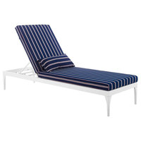 Perspective Cushion Outdoor Patio Chaise Lounge Chair, White Striped Navy
