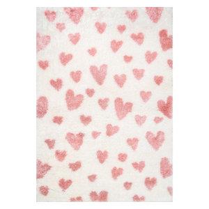 nuLOOM Alison Heart Shag Contemporary Geometric Kids Area Rug, Pink 9'x12'