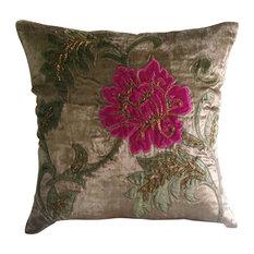 """Applique Indian Pillow Covers Brown 20""""x20"""" Velvet, Applique Blossom"""