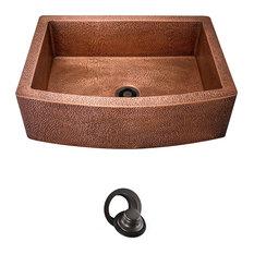 Single Bowl Copper Apron Sink, Flange