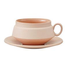 Hend Krichen - Ceramic Teacup and Saucer, Pink - Tea Cups