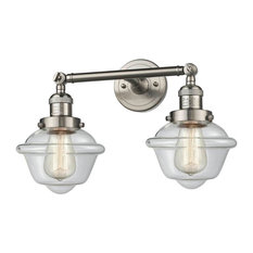 "Innovations 2-LT Small Oxford 17"" Bathroom Fixture - Brushed Satin Nickel"