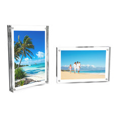 "Acrylic Picture Frames 5""x7"" With Magnetic Closure, Set of 2"