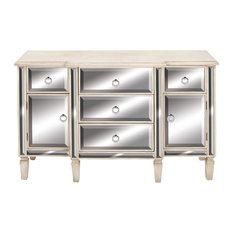 Rectangular White Wood & Mirrored Cabinet w/ Storage by Brimfield & May