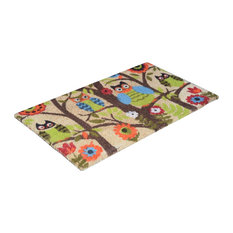 "Vinyl Backed Forrest Owls Printed 0.5"" Thick Coco Doormat"