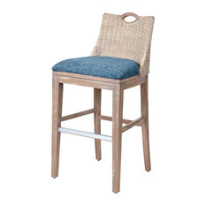 """Belize 30"""" Barstool In Rustic Driftwood, Daphnie Blue"""