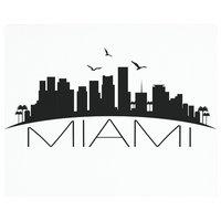 "Vance 12x10"" Miami Skyline Saver Tempered Glass Cutting Board"