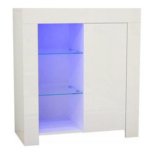 Modern Sideboard, White High Gloss MDF With Inner Shelves and LED Lights