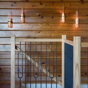 Wood Farmhouse Staircase | Kimball Starr Interior Design