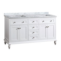 "Yasmine Floor Mount 60"" 3-Hole Vanity, White, Quartz White"
