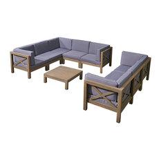 GDF Studio 9-Piece Cytheria Outdoor Sofa Set With Coffee Table, Gray/Dark Gray