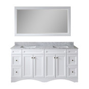 "Talisa 72"" Double Vanity, White, Marble Top, Square Sink, Mirror"
