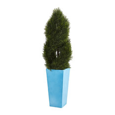 4.5' Double Pond Cypress Spiral Artificial Tree Turquoise Planter UV Resistant