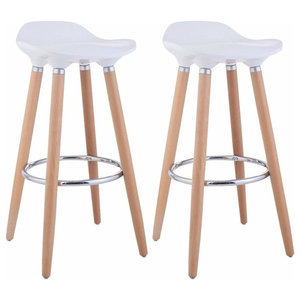Consigned Set of 2 Bar Stool With Plastic Seat, Wooden Legs, White
