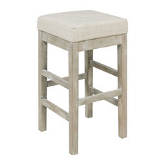 New Pacific Direct Inc. - Valencia Backless Counter Stool Mystique Gray Legs, Canvas - Bar Stools and Counter Stools