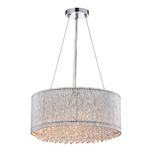Pamina 4-Light Chrome Tubes Drum Shade Chandelier With Hanging Crystals Glam