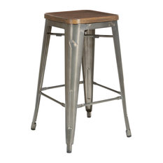 Indio 26-inch Stool Matte Steel And Vintage Ash Walnut Seat Set Of 2