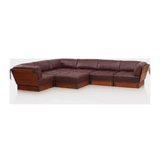 7 piece modular set palm wood a grade leather in reddish brown