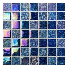 """Marina Iridescent 2""""x2"""" Glass Mosaic Tile, Indigo"""