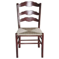 Farmhouse Armchairs And Accent Chairs French Slat-Back Side Chair With Rush Seat & Straight Legs, Set of 2, Black