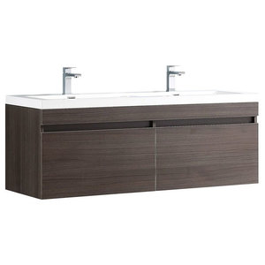 Largo Gray Oak Modern Double Sink Bathroom Cabinet With Integrated Sinks