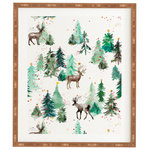 """Deny Designs - Ninola Design Deers And Christmas Trees Framed Wall Art, 14x16.5"""" - Frame it up. The Deny framed art takes away all the hassle of finding the right frame for your art. The art is printed on a satin wood finish and comes exposed for a more artistic look. Sprinkle in different sizes and maybe an art canvas or two to help create a picture perfect gallery wall. And the best part? Every purchase pays the artist who designed itsupporting creativity worldwide."""