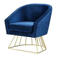 Alice Velvet Barrel Accent Chair With Metal Base, Navy/Gold