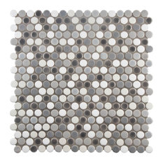 SomerTile Conchella Penny Round Porcelain Floor/Wall Tile, Gray Mix