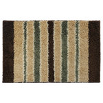 "Xinan Artware Co., LTD - Striped Accent Rug, 24""x36"", Olive Green and Brown - With this accent area rug you'll get both style and versatile. Perfectly soft for use in bathrooms, bedrooms, foyers, halls, stair tops and more! Multi color stripes help tie in colors adding in the decor and style of the room. Wipe/blot clean with a damp cloth and mild soap."