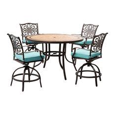 "MONDN5PCBR-C-BLU High-Dining Bar Set With Tile-Top Table, Blue, 56"", 5-Piece"