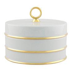 Arienne Trinket Box, White & 24k Gold