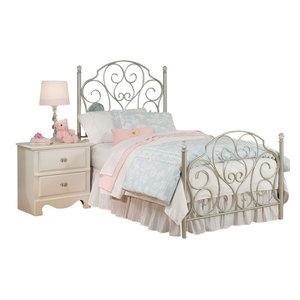 Standard Furniture Spring Rose Metal Kids Bed In White Twin