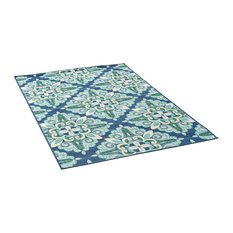 GDF Studio Sage Outdoor Floral  Area Rug, Blue and Green, 5'x8'