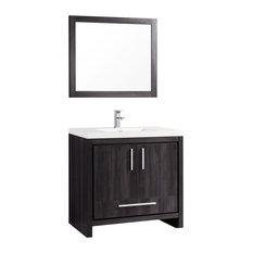 """Miami Single Sink Bathroom Vanity Set, Black Walnut, 36"""""""