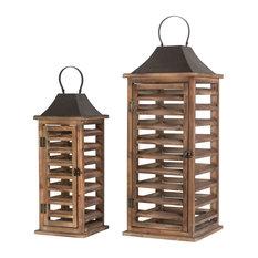 Farmhouse Natural Wooden Shutter Lanterns,Set of 2