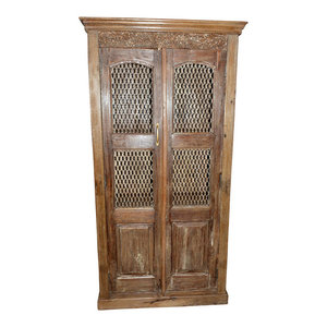 Mogul Interior - Antique Brown Armoire Wardrobe With Open Iron Jali Design - Armoires And Wardrobes
