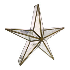 Glass Star Candle Holder, Mirrored, Large, Brass
