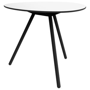 Dine A-Lowha Dining Table, White, Black Frame