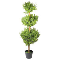 """46.5"""" Potted Two-Tone Artificial Murraya Triple Ball Topiary Tree"""