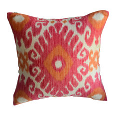 Pink and Orange Ikat Decorative Pillow, Without Insert